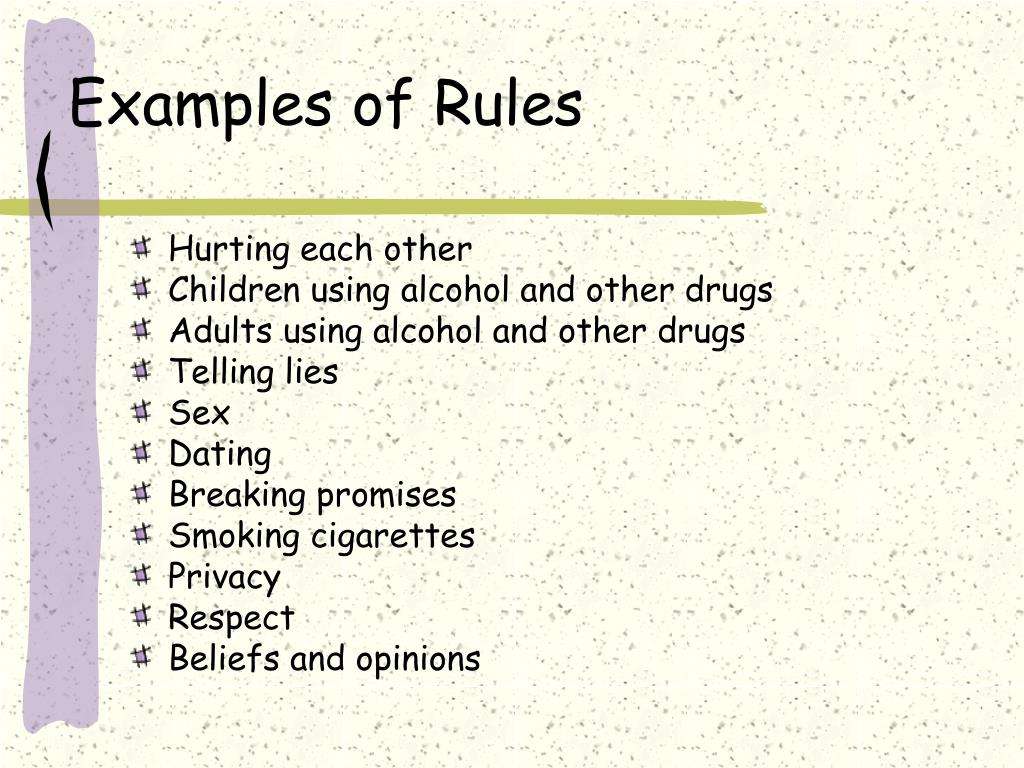 Examples of Rules
