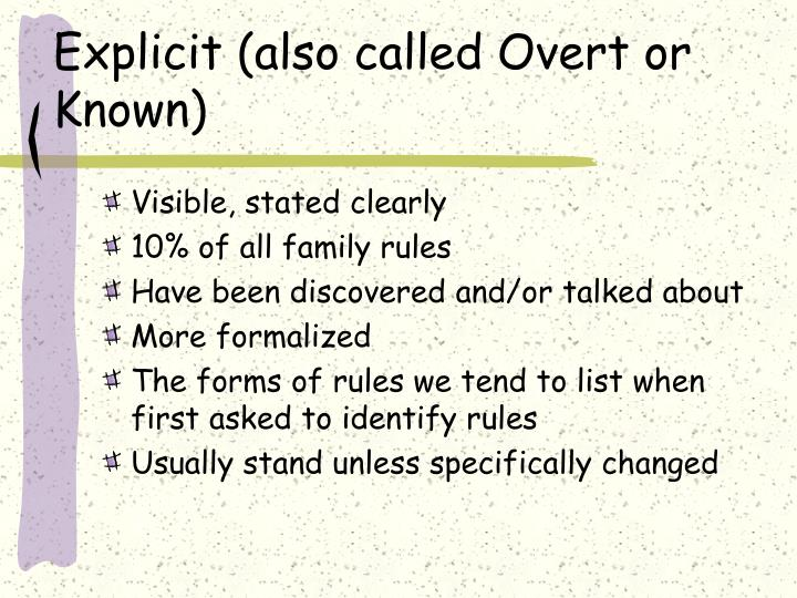 Explicit also called overt or known