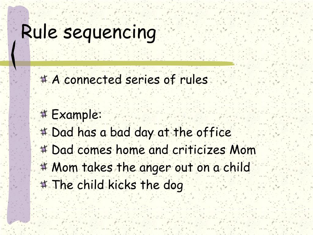 Rule sequencing