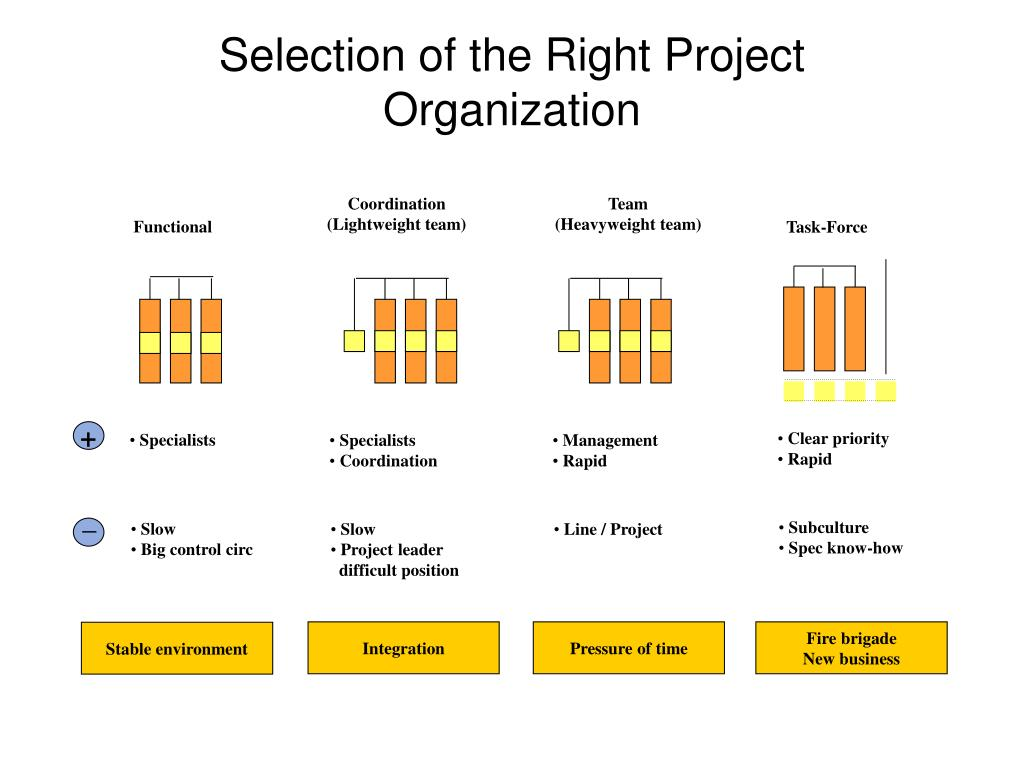 Selection of the Right Project Organization