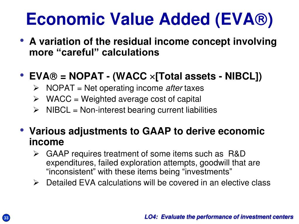 """A variation of the residual income concept involving more """"careful"""" calculations"""