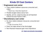 kinds of cost centers