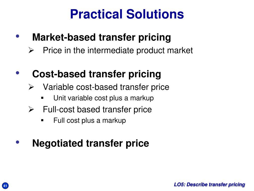 Market-based transfer pricing
