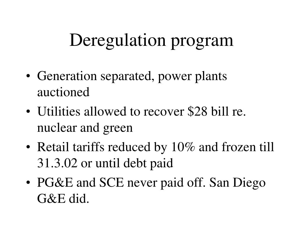 Deregulation program