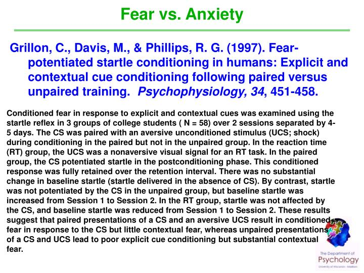 Fear vs. Anxiety