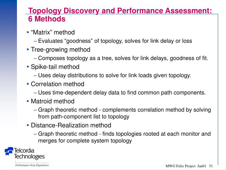 Topology Discovery and Performance Assessment: 6 Methods
