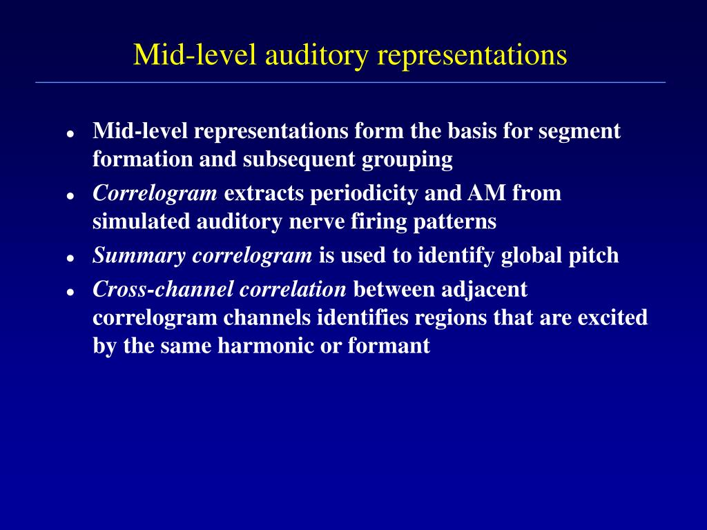 Mid-level auditory representations