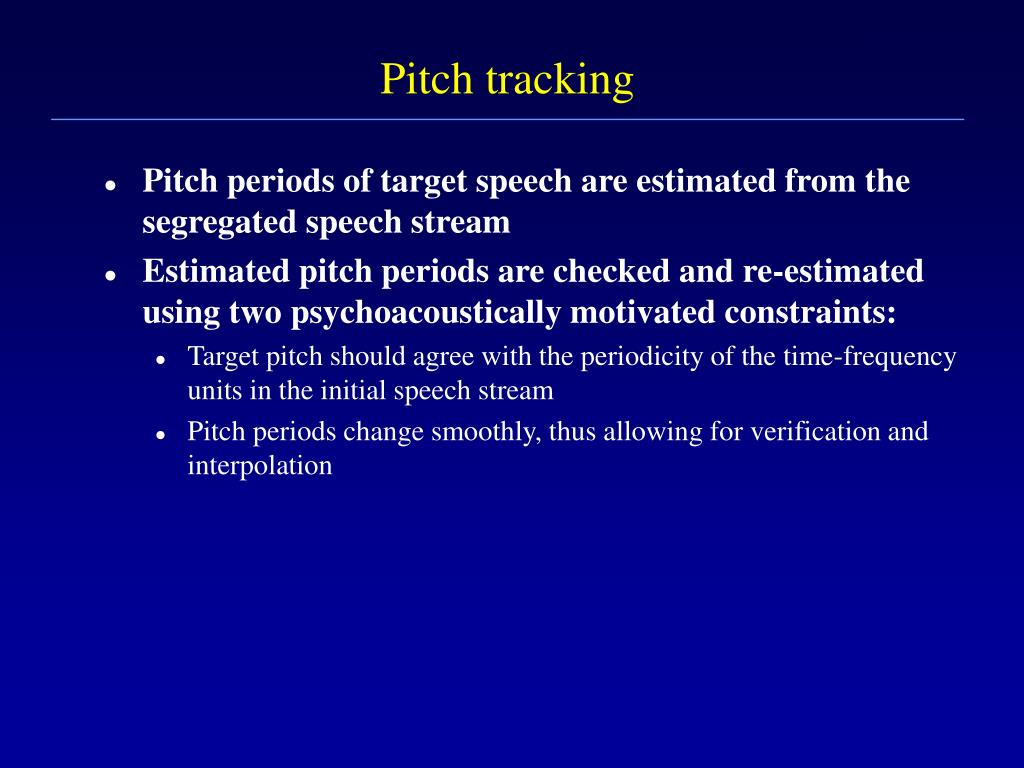 Pitch tracking