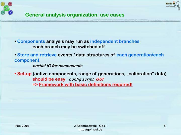 General analysis organization: use cases