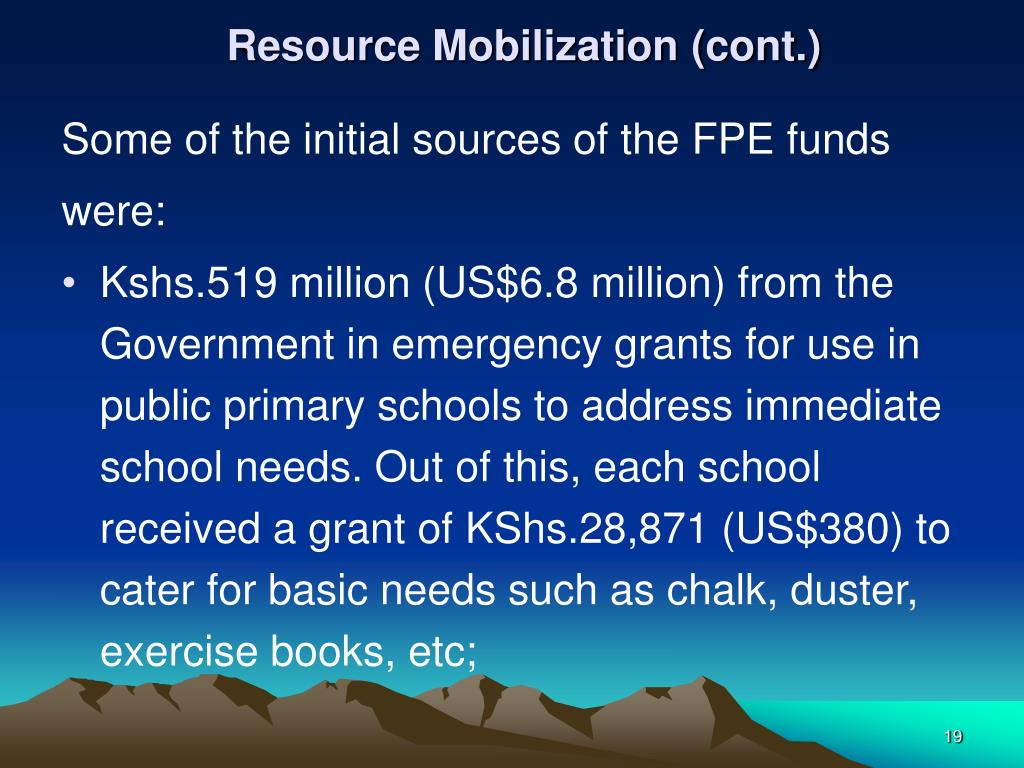 Resource Mobilization (cont.)