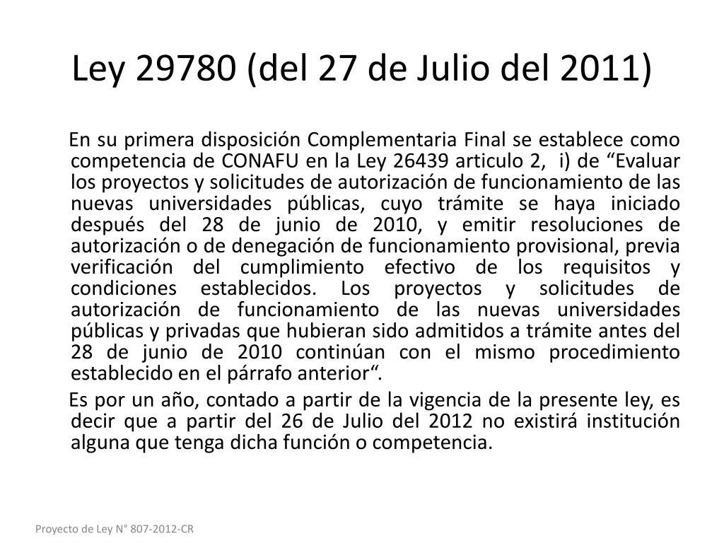 Ley 29780 (del 27 de Julio del 2011)