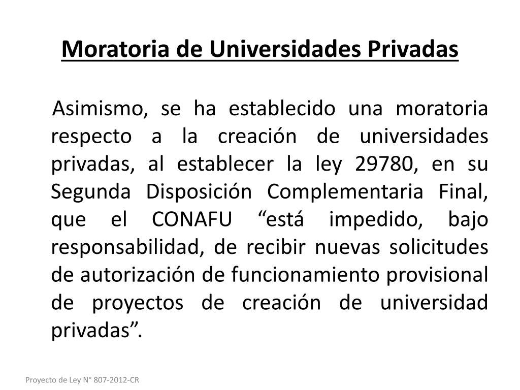 Moratoria de Universidades Privadas
