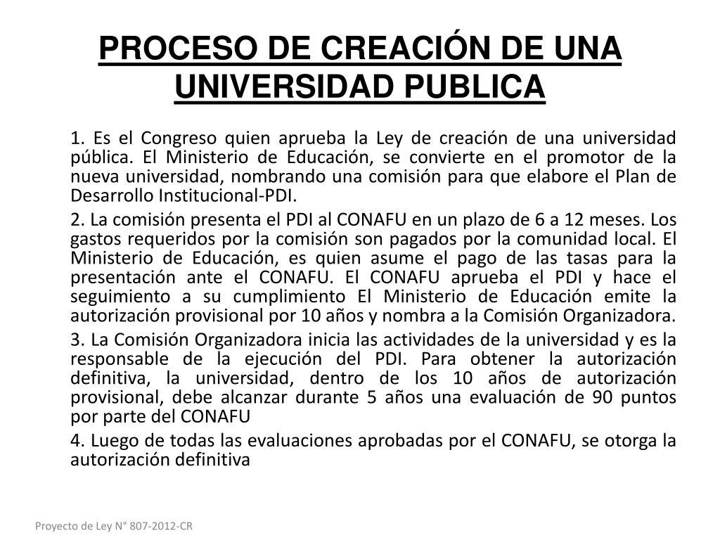 PROCESO DE CREACIÓN DE UNA UNIVERSIDAD PUBLICA