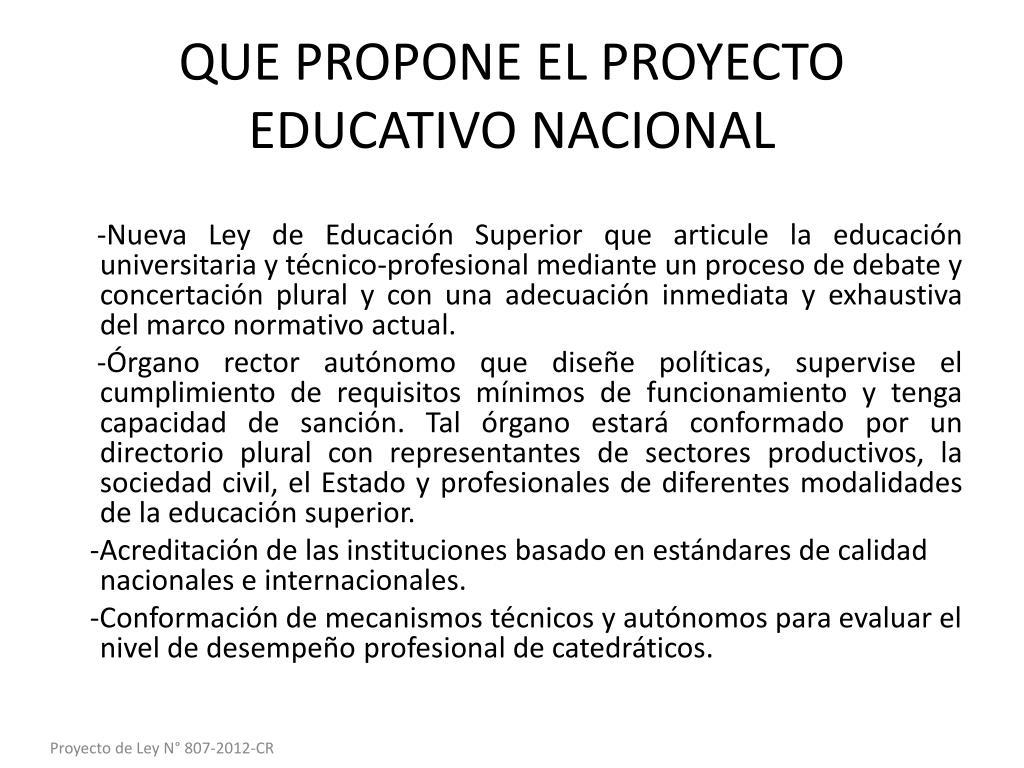 QUE PROPONE EL PROYECTO EDUCATIVO NACIONAL