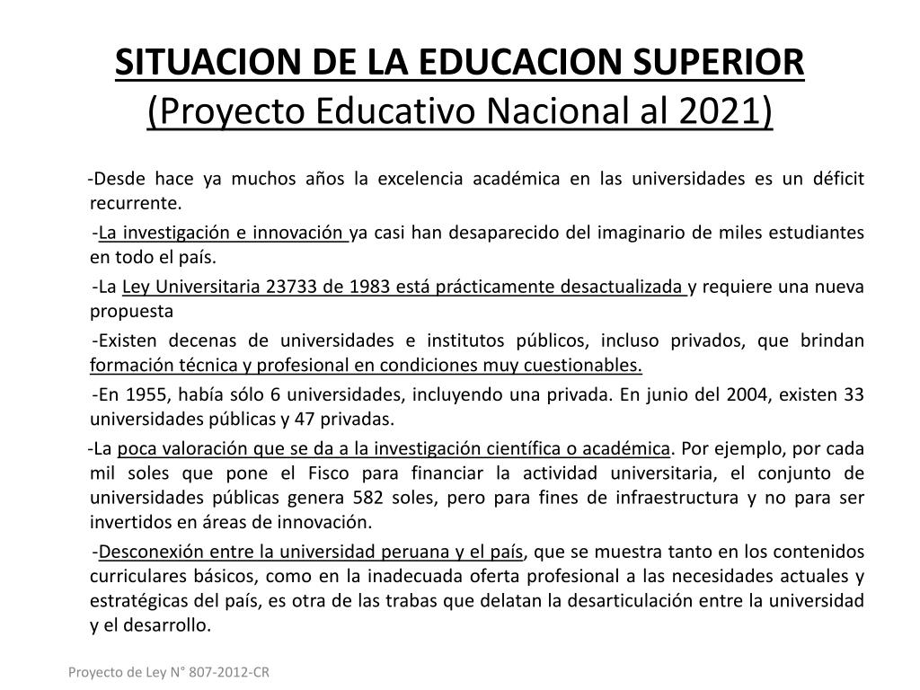SITUACION DE LA EDUCACION SUPERIOR