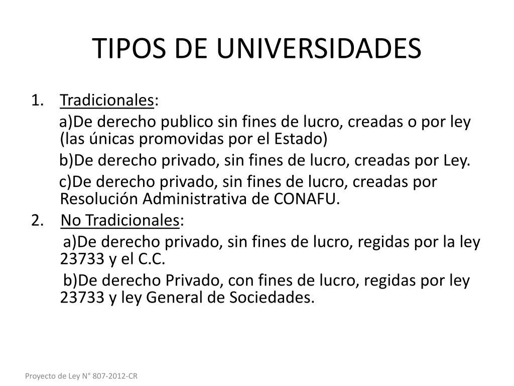 TIPOS DE UNIVERSIDADES