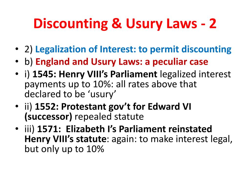 Discounting & Usury Laws - 2