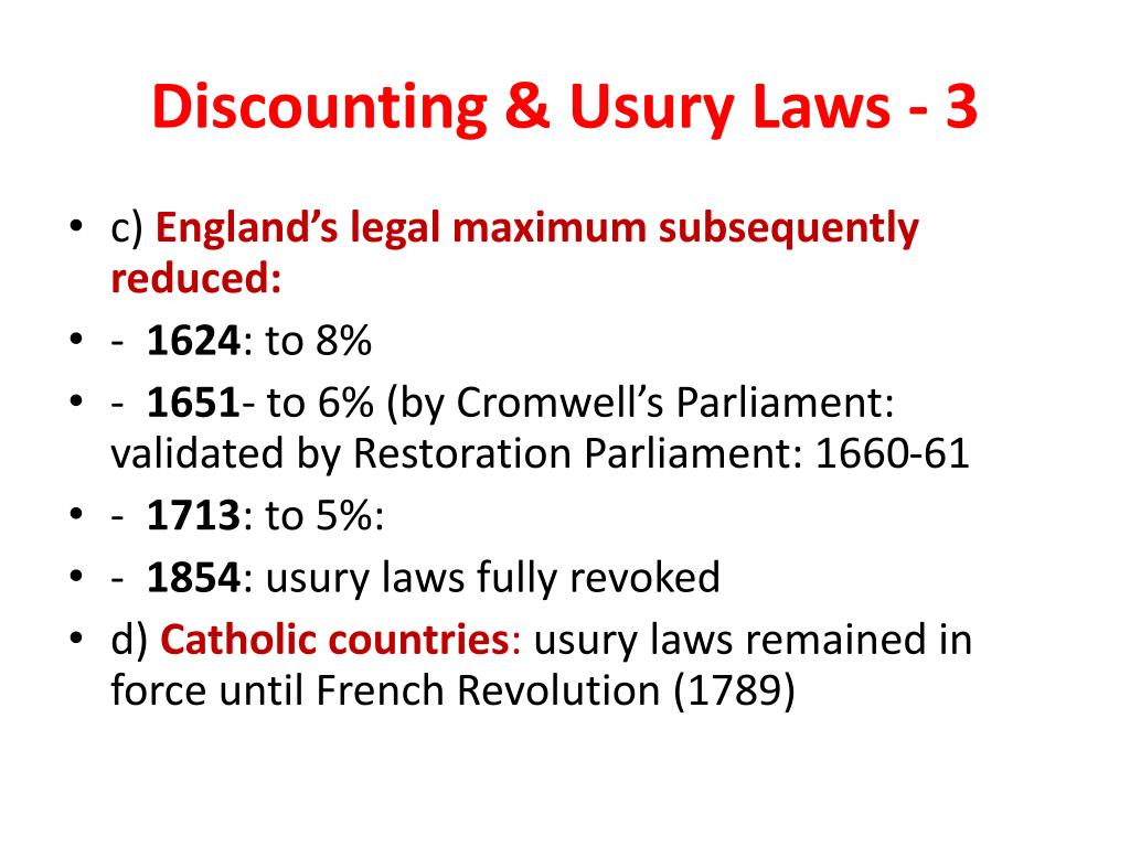 Discounting & Usury Laws - 3