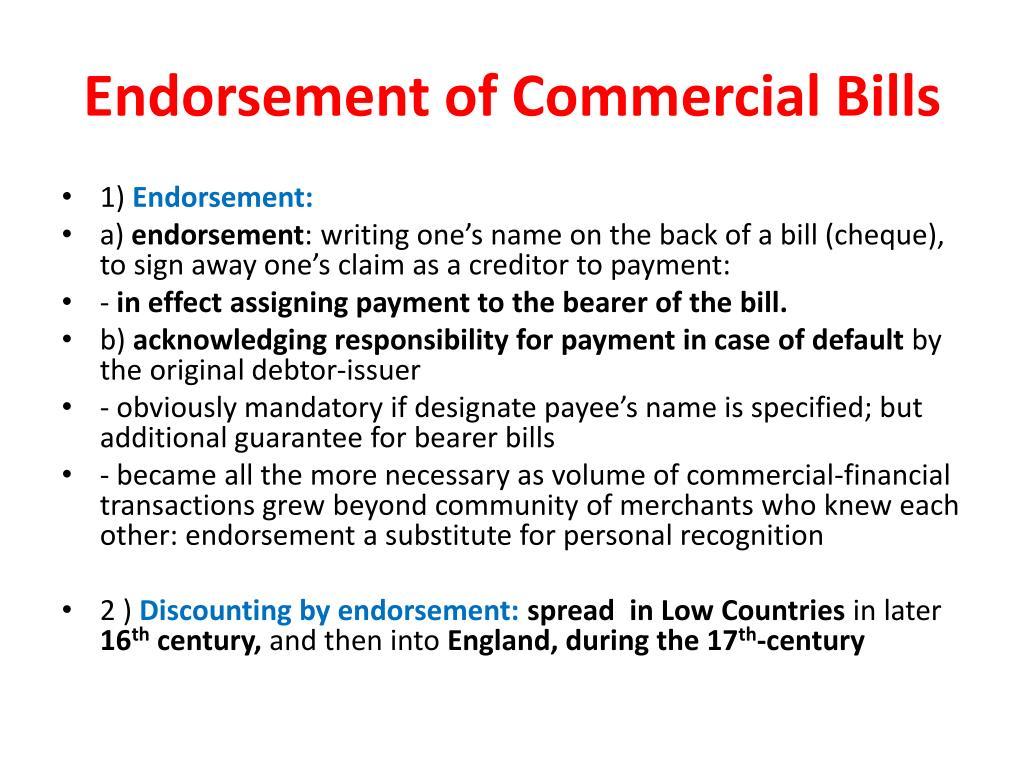 Endorsement of Commercial Bills