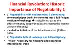 financial revolution historic importance of negotiability 1
