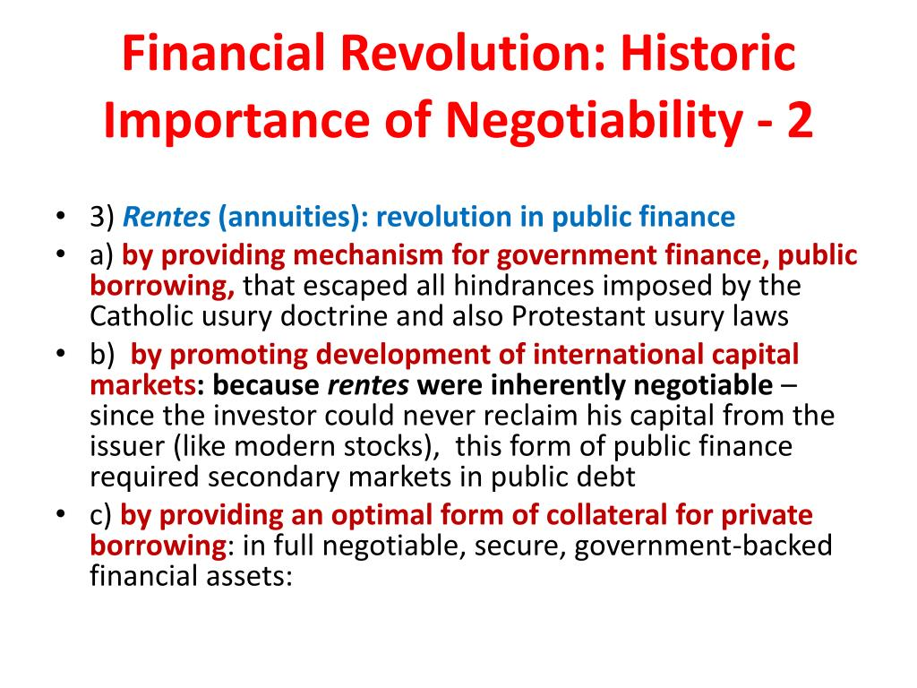 Financial Revolution: Historic Importance of Negotiability - 2