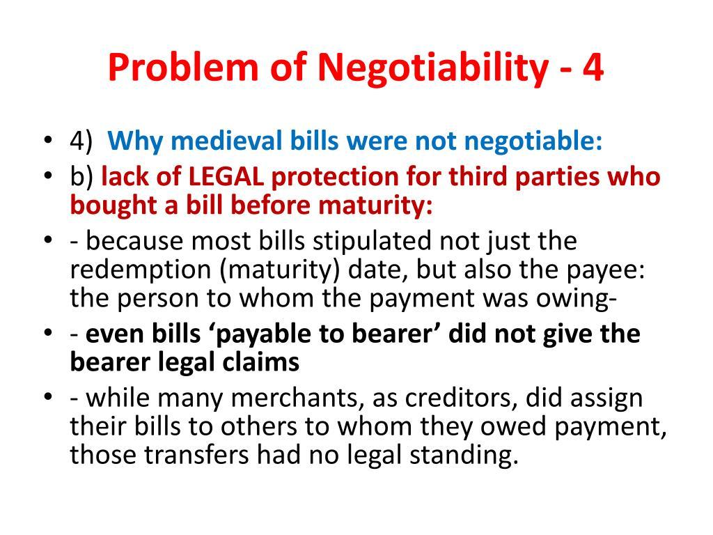 Problem of Negotiability - 4
