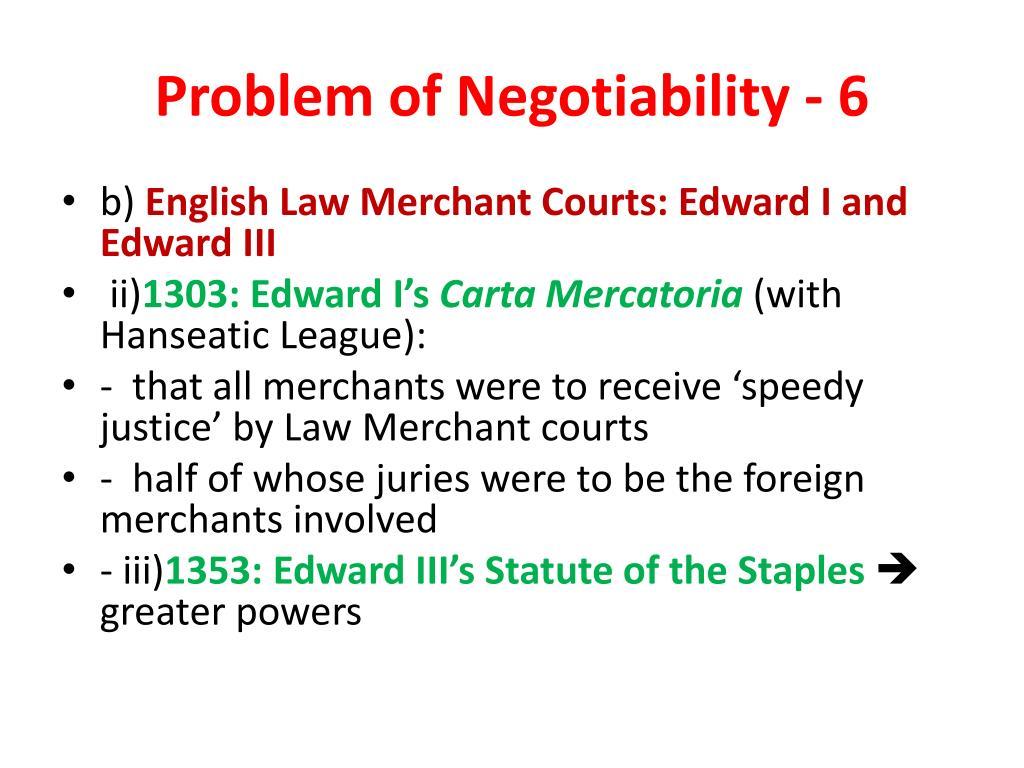 Problem of Negotiability - 6