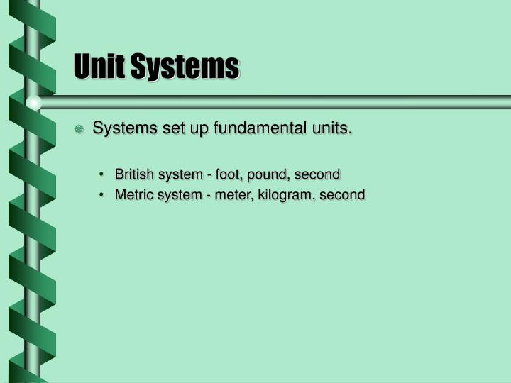 Unit systems