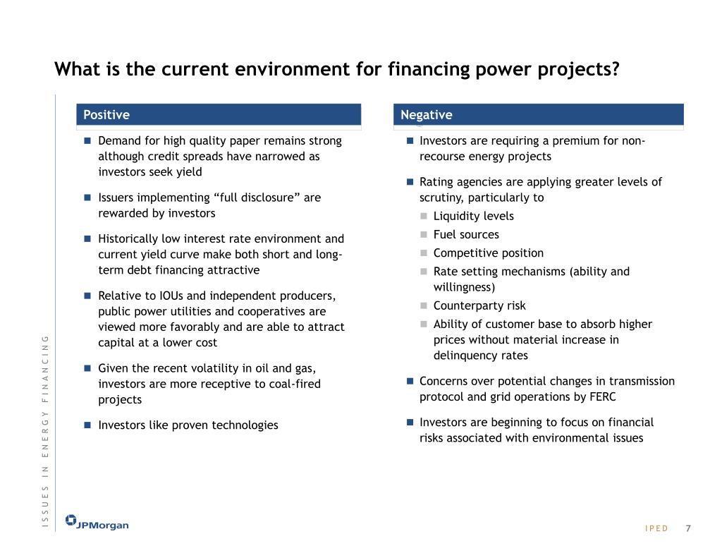 What is the current environment for financing power projects?