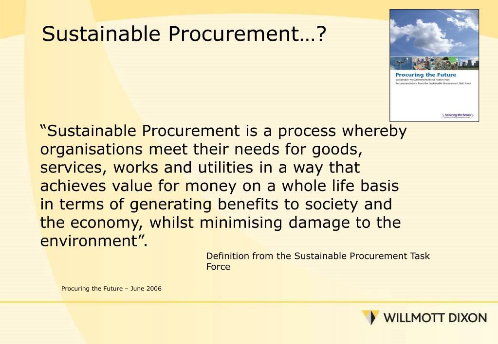 Sustainable Procurement…?