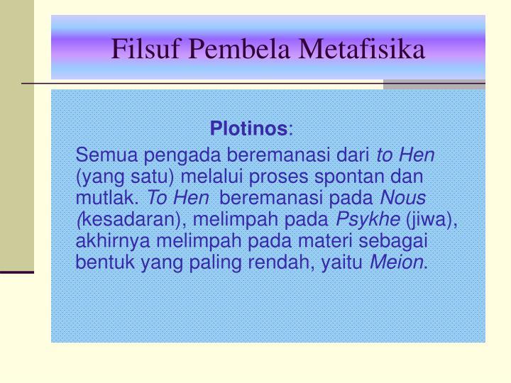 Filsuf Pembela Metafisika