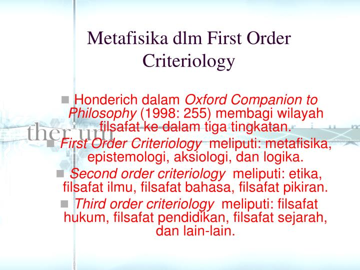 Metafisika dlm First Order Criteriology