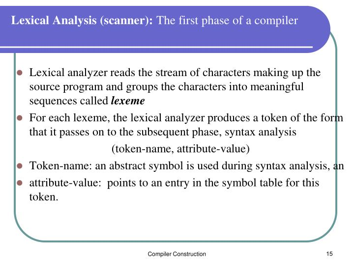Lexical Analysis (scanner):