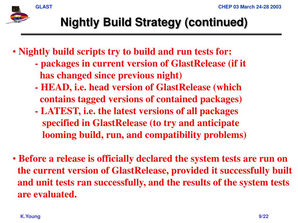 Nightly Build Strategy (continued)