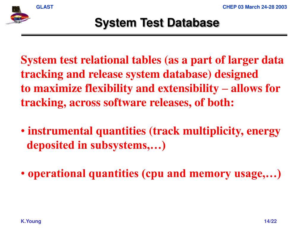 System Test Database