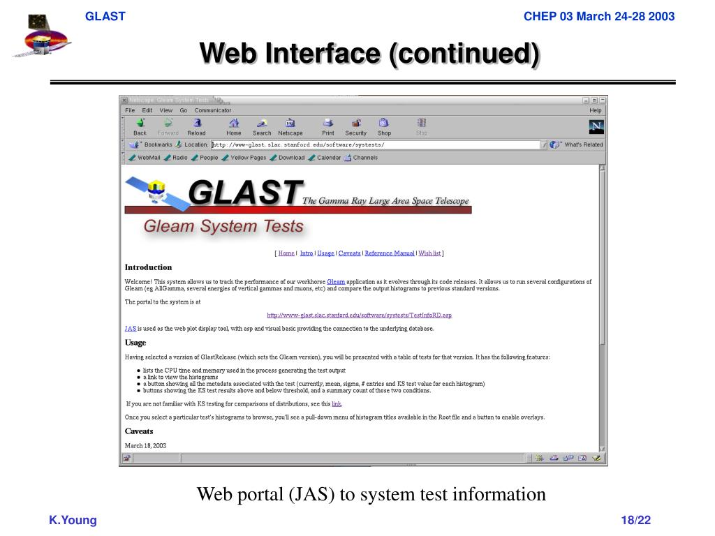 Web Interface (continued)