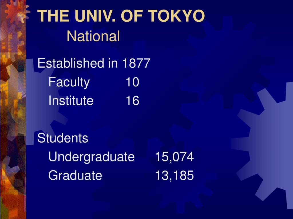 THE UNIV. OF TOKYO
