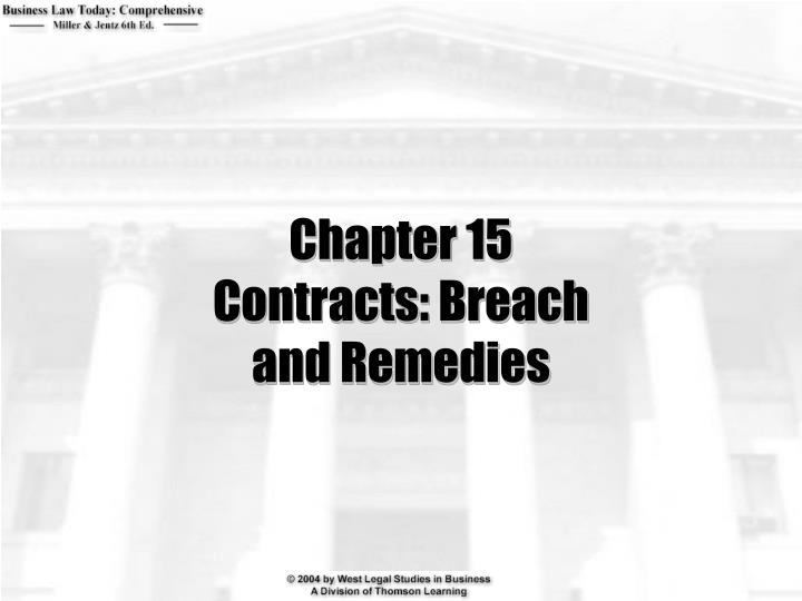 Chapter 15 contracts breach and remedies