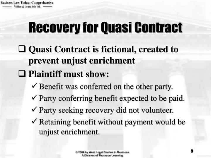Recovery for Quasi Contract