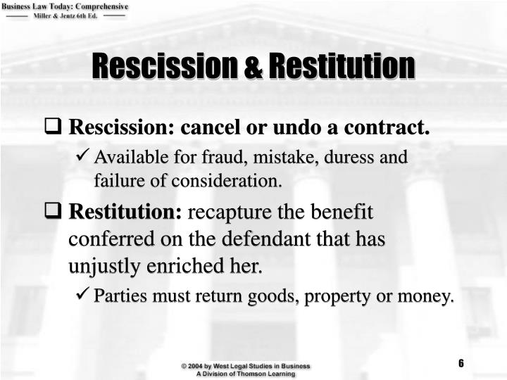 Rescission & Restitution