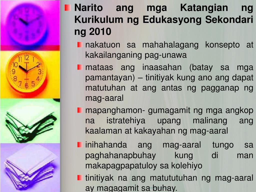 Narito ang mga Katangian ng Kurikulum ng Edukasyong Sekondari ng 2010