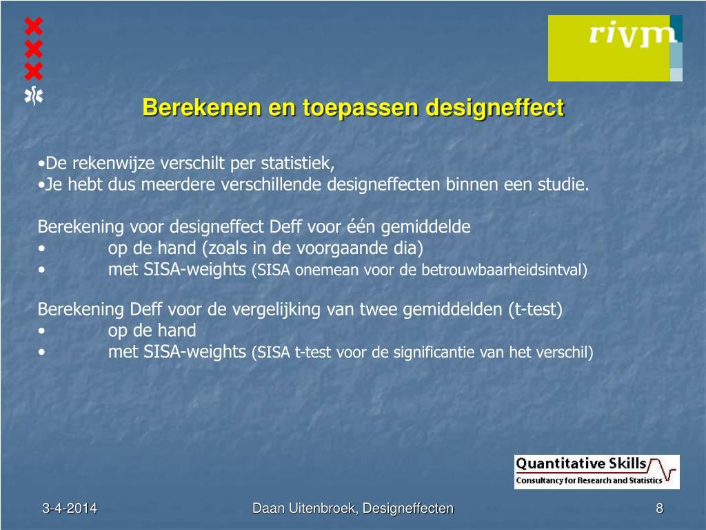 Berekenen en toepassen designeffect