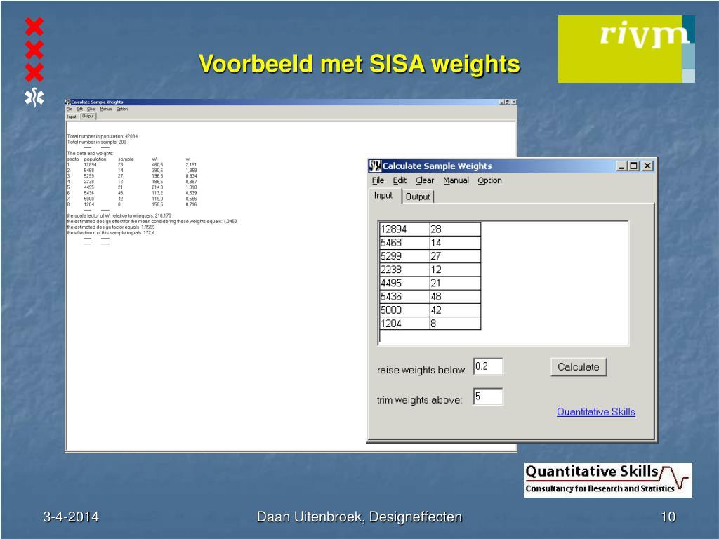 Voorbeeld met SISA weights