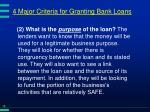 4 major criteria for granting bank loans15