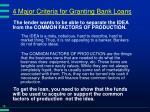 4 major criteria for granting bank loans16