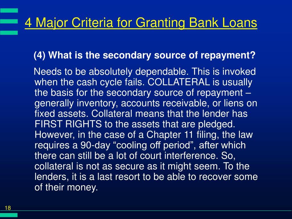 4 Major Criteria for Granting Bank Loans