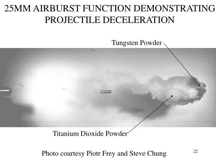 25MM AIRBURST FUNCTION DEMONSTRATING PROJECTILE DECELERATION
