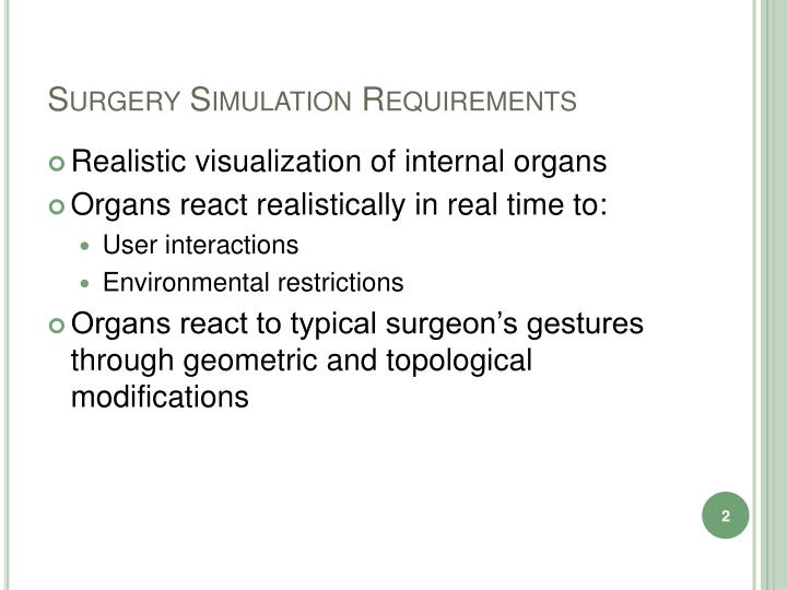 Surgery Simulation Requirements
