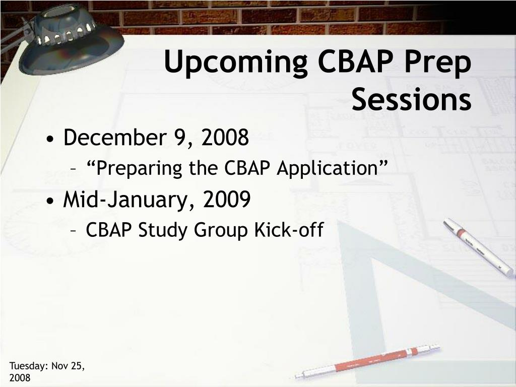 Upcoming CBAP Prep Sessions
