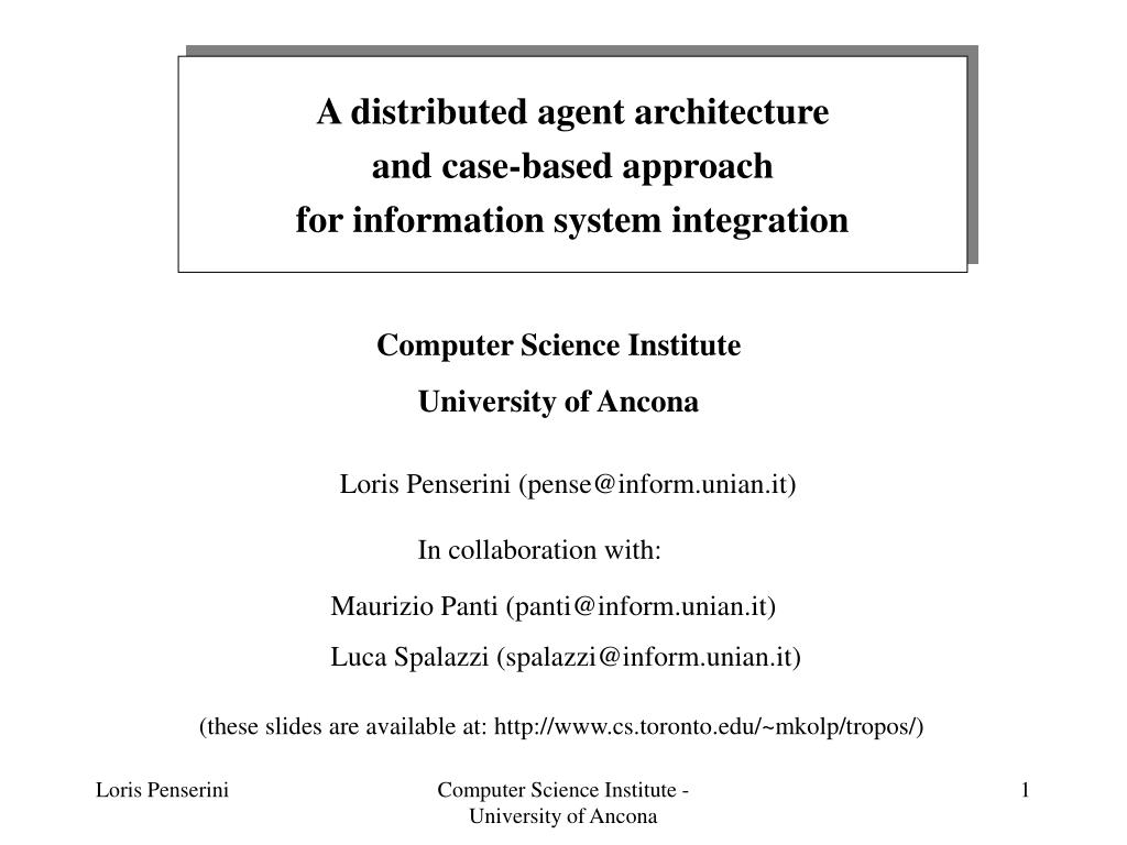 A distributed agent architecture